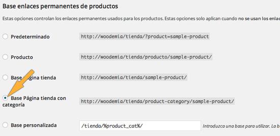 Configurar enlaces permanentes de productos WooCommerce