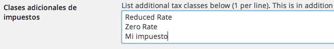 Crear nuevos impuestos en WooCommerce