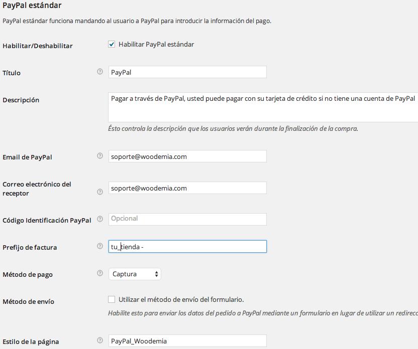 Ajustes de configuración de Paypal en WooCommerce