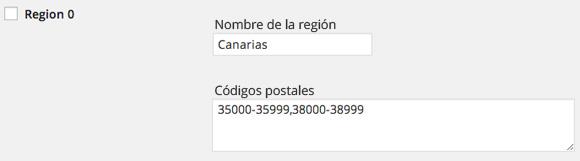 Configurar códigos postales gastos envío WooCommerce