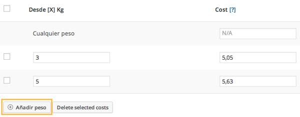 Configurar tabla principal de gastos de envío por peso WooCommerce