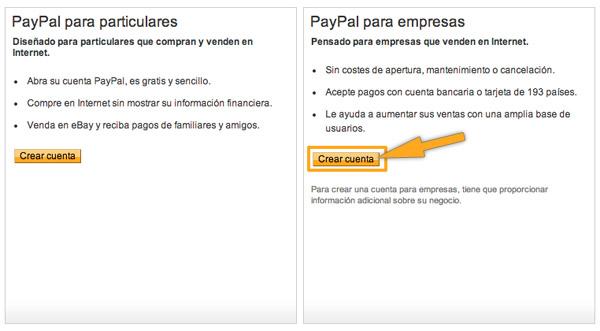 Crear una cuenta Paypal de empresa para WooCommerce