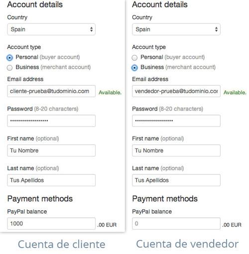 Crear cuentas Paypal Sandbox para WooCommerce