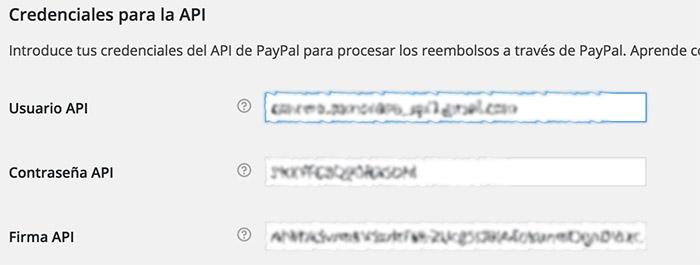 Credenciales API Paypal para WooCommerce