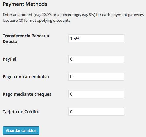 Aplicar descuentos en woocommerce seg n m todo de pago for Transferencia bancaria