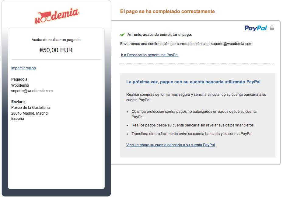 Ejemplo de página de pago Paypal personalizada