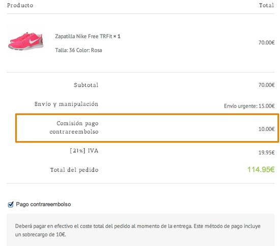 Sobrecargo de pago contrareembolso en WooCommerce