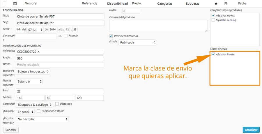 Aplicar clase de envío a lista de productos WooCommerce