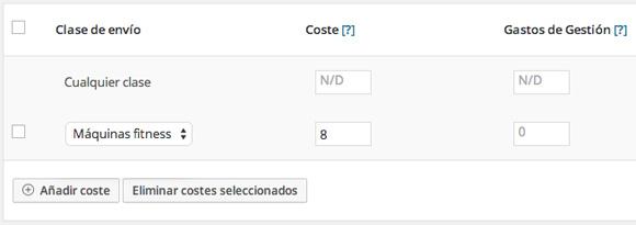 Configurar costes de clases de envío en WooCommerce