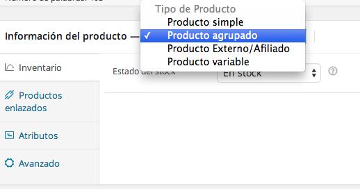 Definir un producto agrupado en WooCommerce