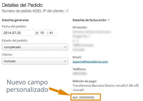 Mostrar campo NIF en la página de edición del pedido en WooCommerce
