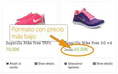 Mostrar precio más bajo productos variables en WooCommerce