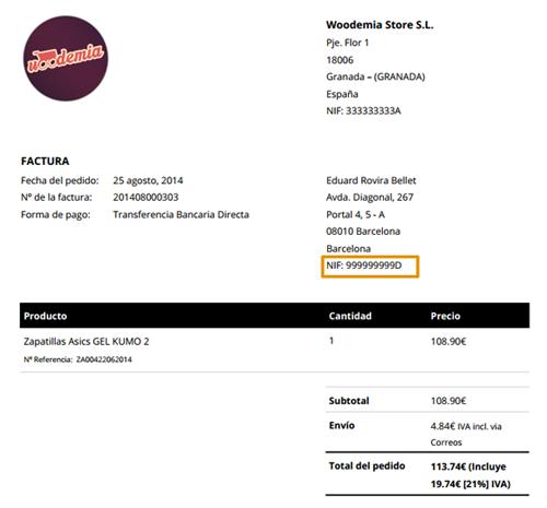 Ejemplo de factura WooCommerce con NIF