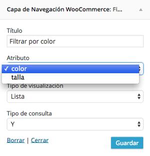 Ajustes de filtro de colores y tallas en WooCommerce