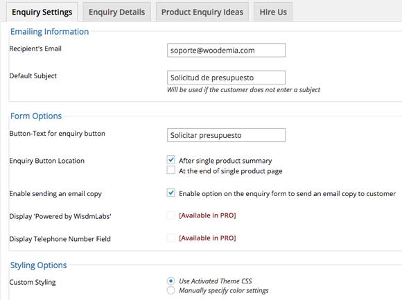 Panel de ajustes plugin gratuito solicitar presupuesto en WooCommerce