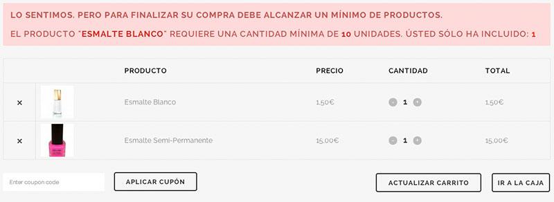 Número mínimo de productos pedido WooCommerce