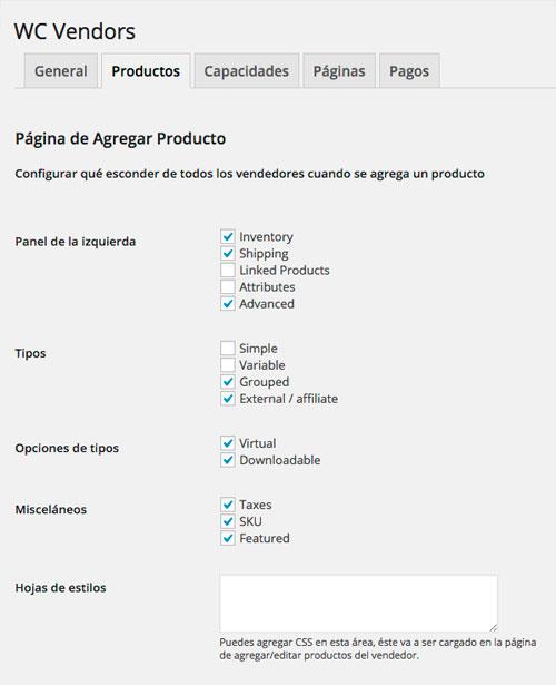 Página edición producto múltiples vendedores-woocommerce
