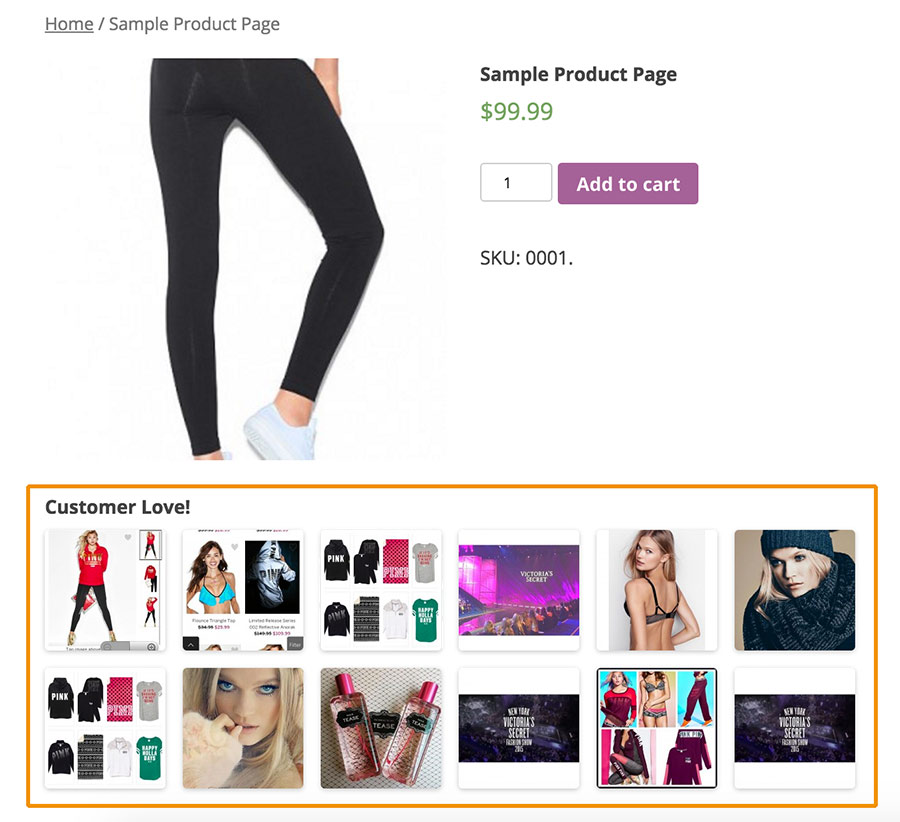 Mostrar fotos Instagram clientes página productos WooCommerce