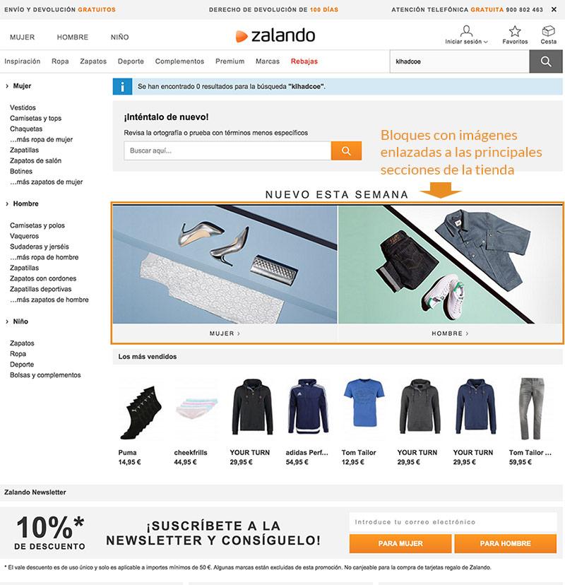 Ejemplo de página producto no encontrado Zalando