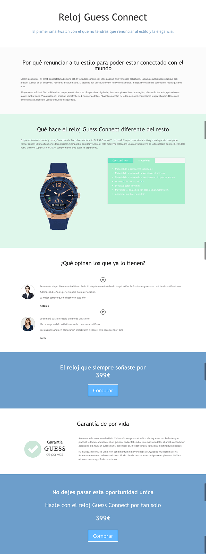 Ejemplo de página de ventas WooCommerce y Divi