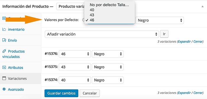 Definir variación por defecto en producto WooCommerce