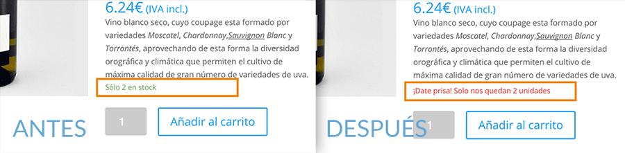 Personalizar aviso stock bajo producto WooCommerce