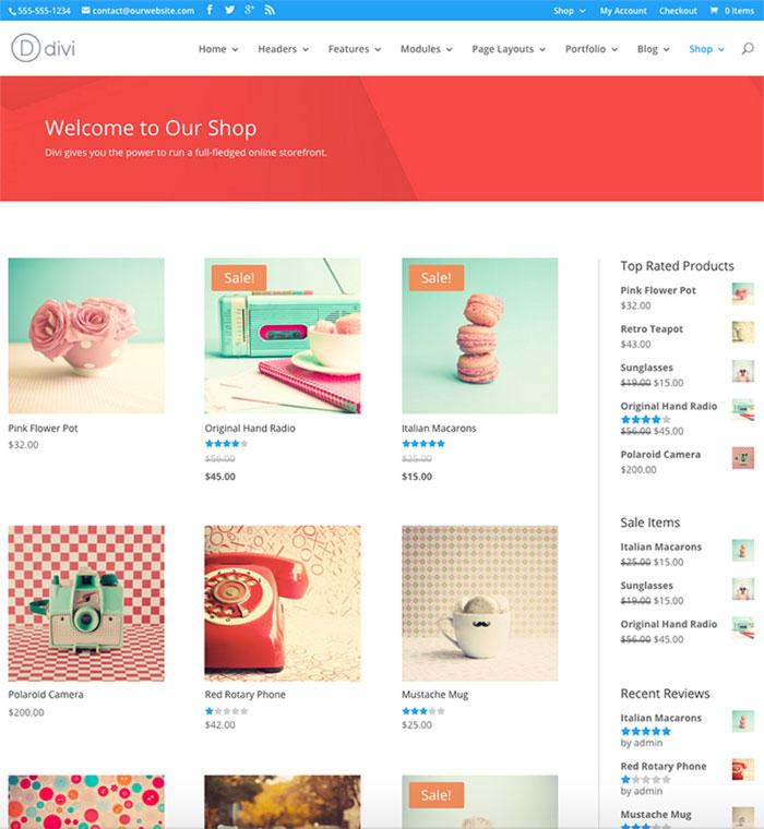 Tienda online hecha con Divi