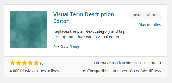 Plugin Visula Term Description