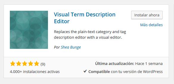 Plugin Visula Term Description