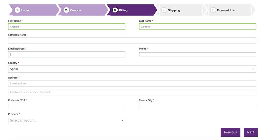 Página pago multi paso WooCommerce
