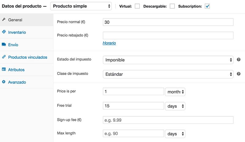 Configurar suscripción mensual WooCommerce
