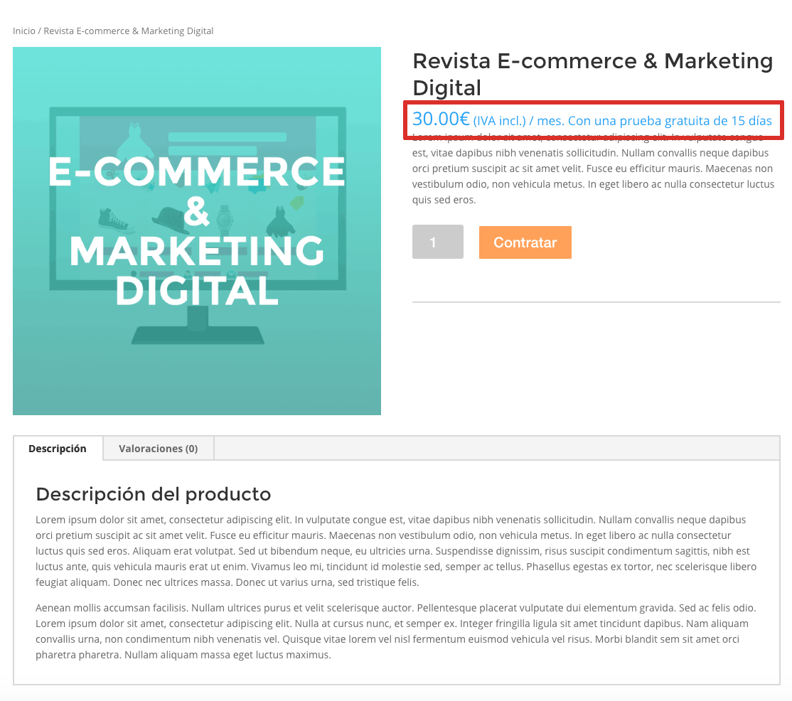 Ejemplo de producto de suscripción WooCommerce