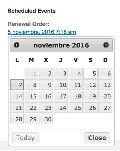Modificar fecha pagos por suscripción WooCommerce