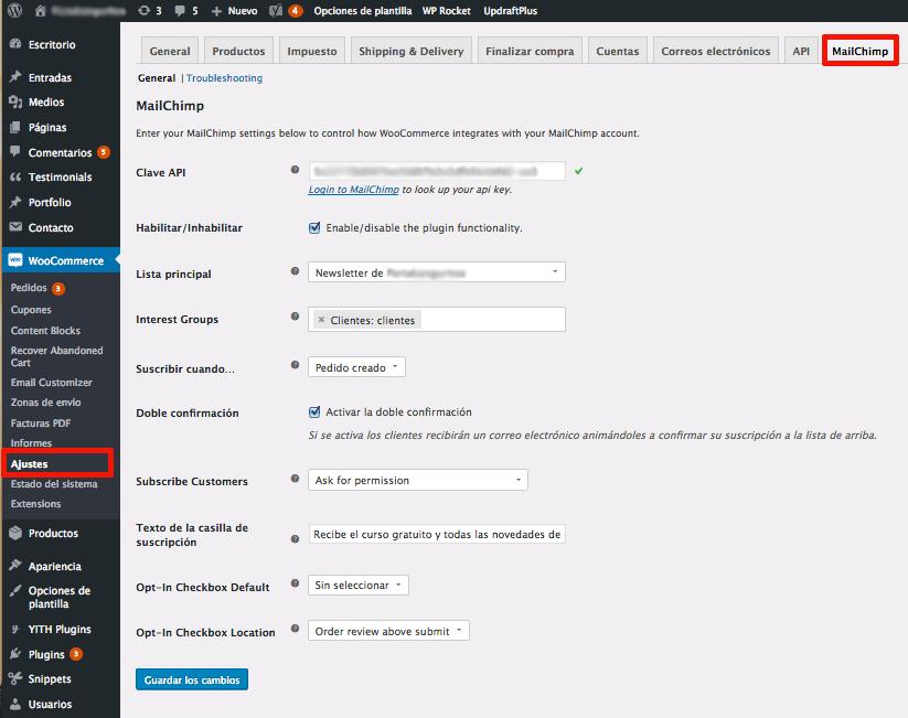 configurar woocommerce mailchimp
