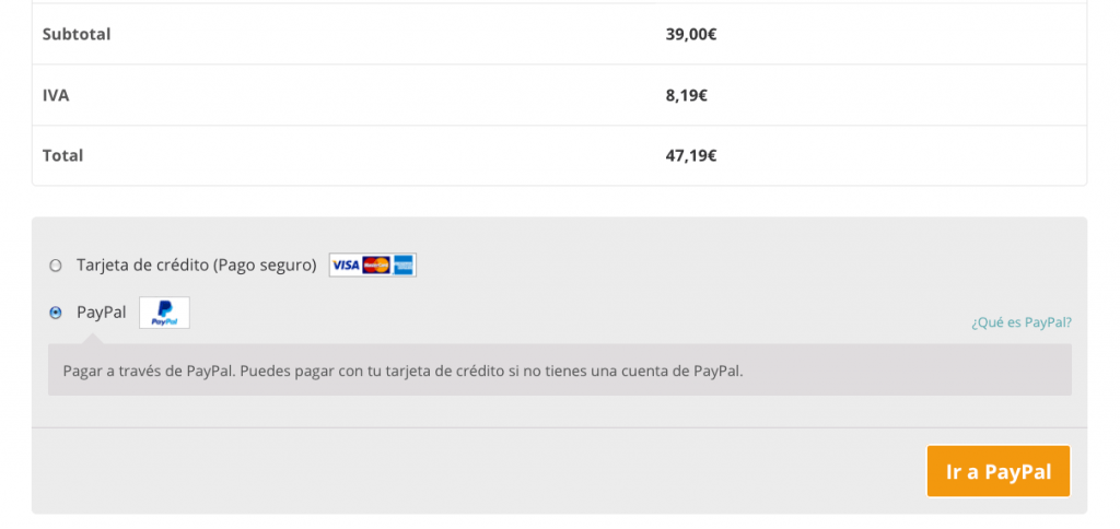 forma de pago paypal woocommerce