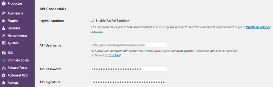 cómo conectar paypal express woocommerce