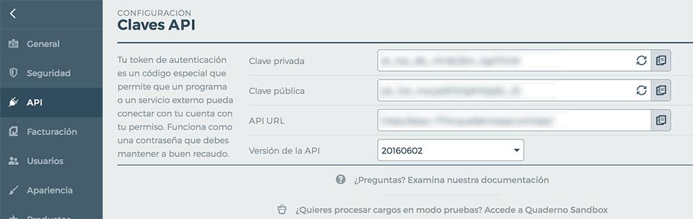 Claves API Quaderno para WooCommerce