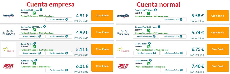 Comparativa precios envío Genei cuenta empresa y normal
