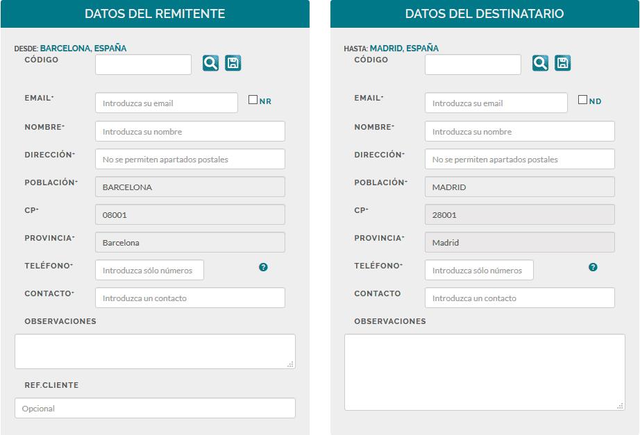 Rellenar datos remitente y destinatario envío pedido tienda-woocommerce