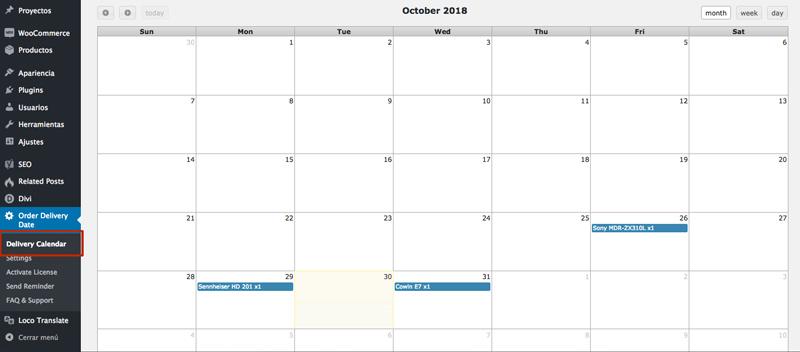 calendario fecha entrega woocommerce