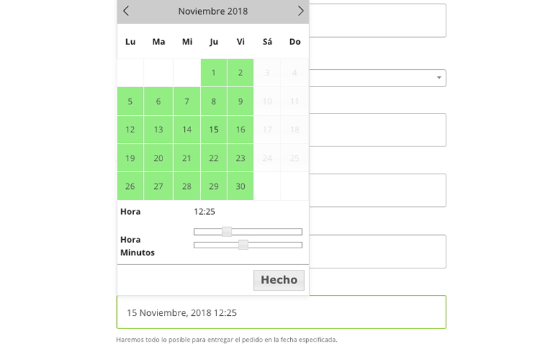 elegir fecha entrega woocommerce