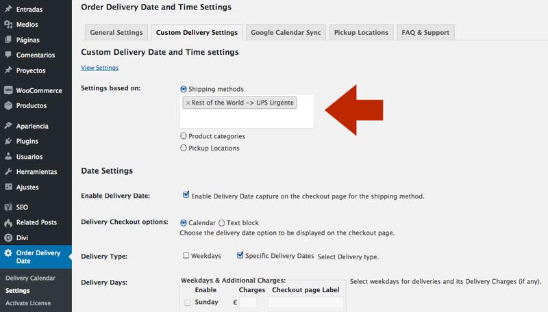 plugin fechas de envíos