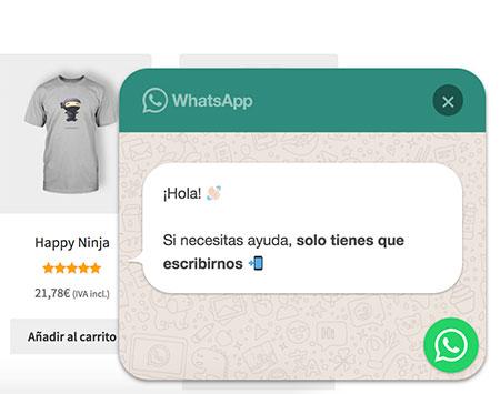 Inicia chat WhatsApp tienda online automático
