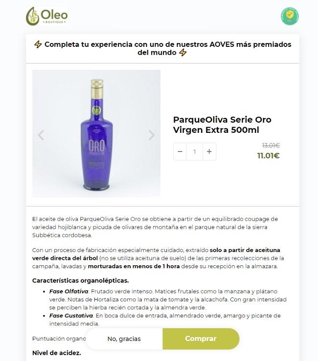 Ejemplo oferta upsell post compra tienda WooCommerce